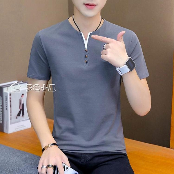 短袖上衣高品質95%棉男士V領短袖T恤衫夏季純色上衣服青少年潮流男裝 快速出貨