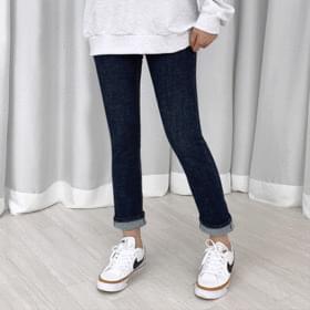 韓國空運 - Two-button high Raw denim trousers 牛仔褲