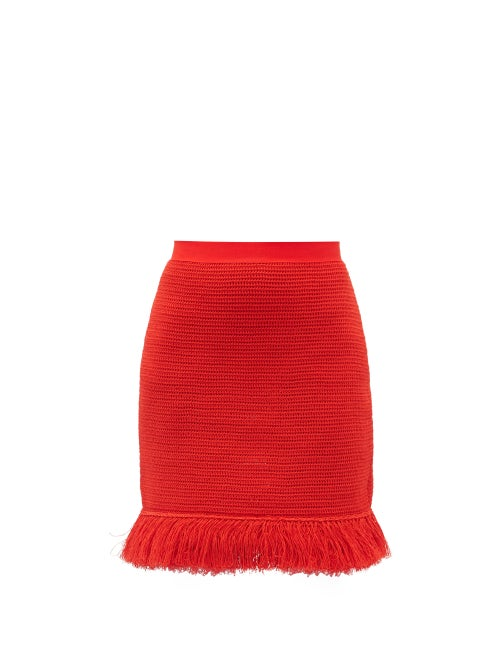 Bottega Veneta - Fringed Knitted Cotton-blend Mesh Mini Skirt - Womens - Red