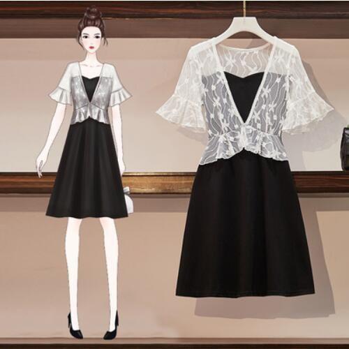 洋裝 連身裙 拼接裙 中大尺碼L-4XL大碼顯瘦氣質荷葉邊赫本風可鹽可甜小黑裙R037-1098.胖胖美依