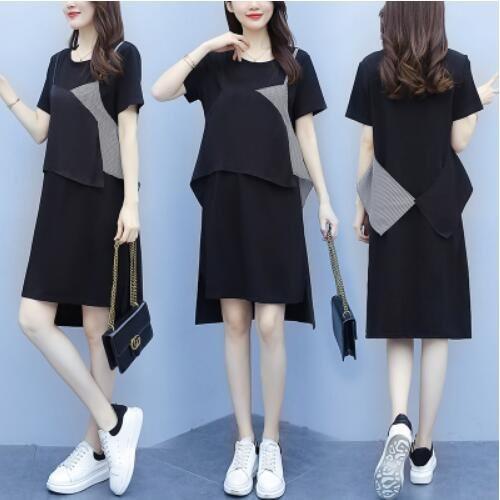 洋裝 裙子中大尺碼L-5XL大碼寬鬆拼接純棉T卹連身裙4F004-9190.胖胖美依