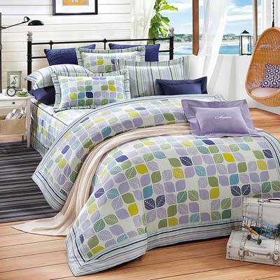 《奧斯汀品牌頂級天絲》葉語-兩用被床包四件組