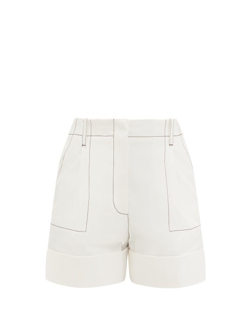 Alexander Mcqueen - Topstitched Cotton-gabardine Shorts - Womens - White