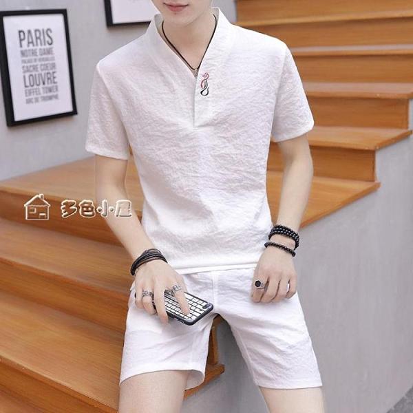 短袖上衣夏季新款中國風時尚運動套裝男士青少年短袖T恤夏季休閒套裝男潮 快速出貨