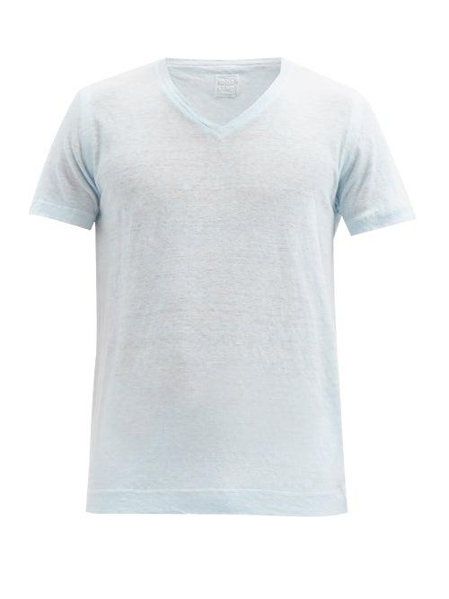 120% Lino - V-neck Linen-slub Jersey T-shirt - Mens - Light Blue
