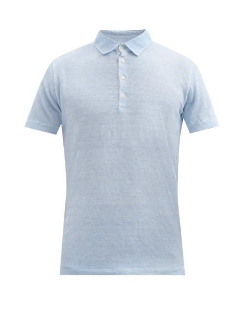 120% Lino - Linen Polo Shirt - Mens - Blue