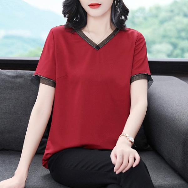 中年媽媽紅色短袖雪紡衫M-4XL寬鬆時尚減齡上衣氣質打底小衫潮829 NE334依佳衣