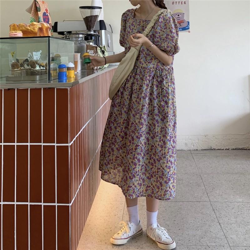 時尚方領泡泡袖百搭顯瘦中長款連衣裙