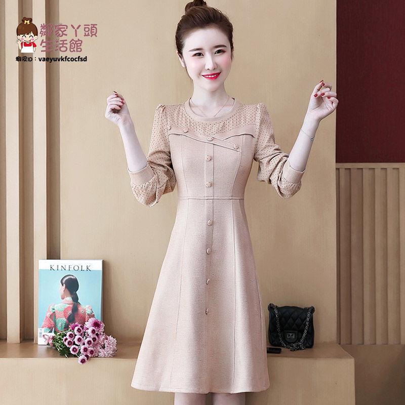 大碼女裝減齡炸街穿搭溫柔風高級感連衣裙春款胖mm輕奢設計感裙子【2021新款洋裝】