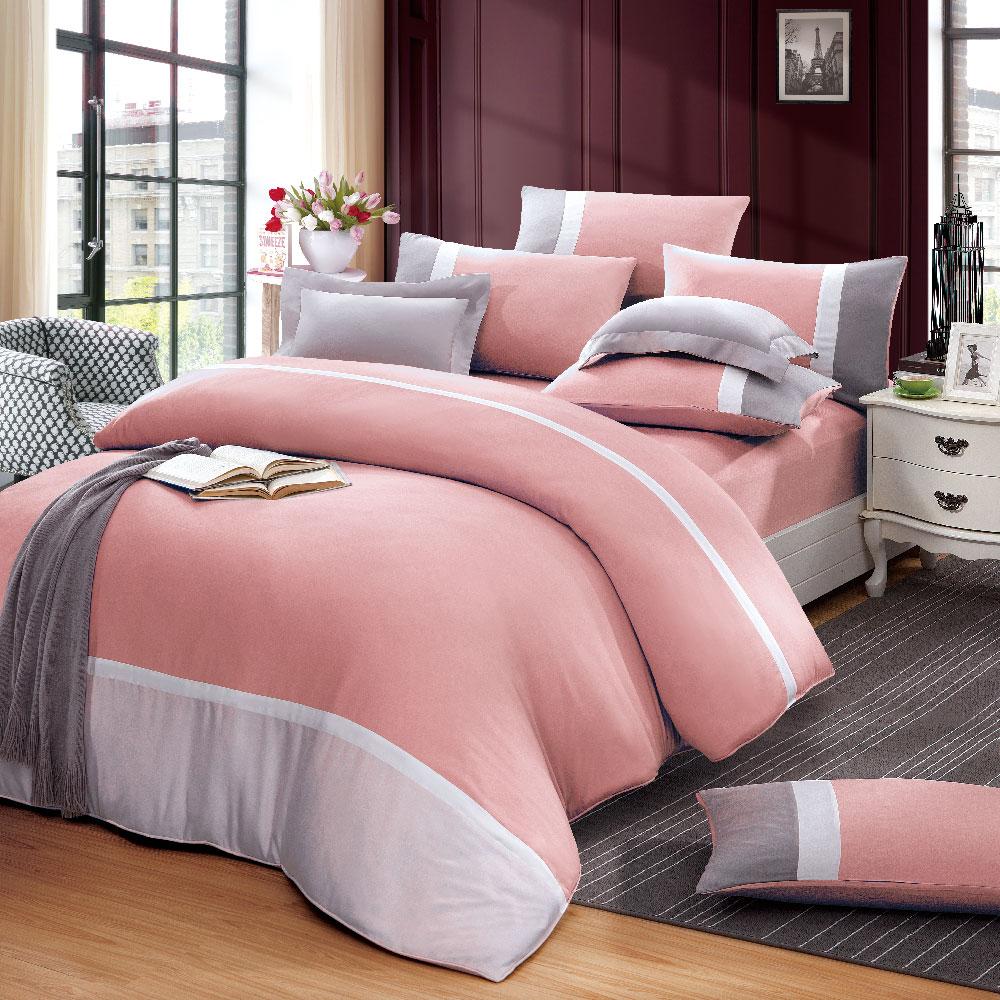 《奧斯汀品牌頂級天絲》素色粉-兩用被床包四件組