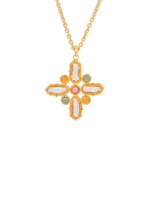 22K Goldplated & MIxed-Stone Baroque Cross Pendant Necklace