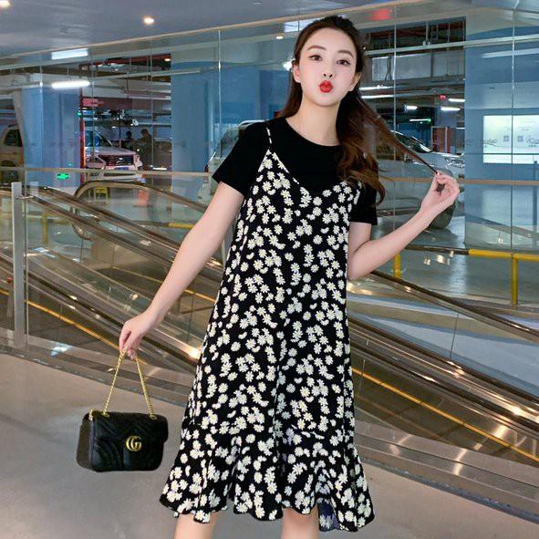洋裝 連身裙 兩件式M-4XL中大尺碼兩件套雪紡小雛菊花顯瘦减齡套裝4F022.2128胖胖美依