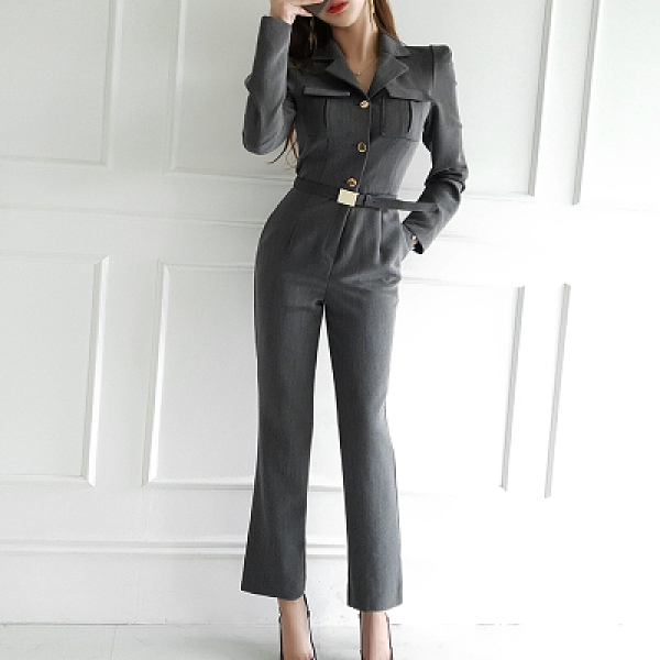 職業時尚連體褲春裝新款韓版氣質修身西裝領單排扣收腰職業時尚連體褲7315#NE49紅粉佳人