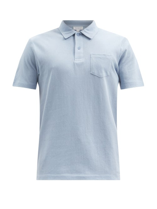 Sunspel - Riviera Chest-pocket Cotton-piqué Polo Shirt - Mens - Light Blue