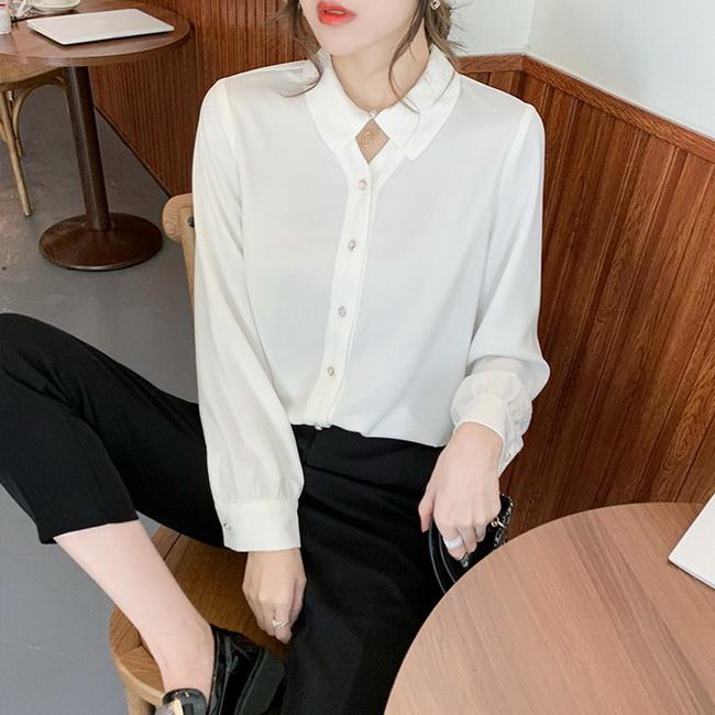 FOFU-寬鬆百搭氣質長袖設計感設計款職場上衣白襯衫【08SG05268】