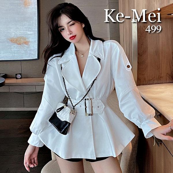 克妹Ke-Mei【AT65428】女神渡假風CHIC收腰立領釦環腰帶西裝外套