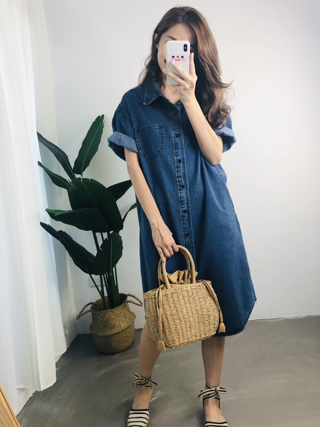 【missy shop】命定丹寧短袖洋裝-L1886