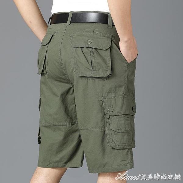 工裝短褲夏季新款五分褲男式短褲寬鬆直筒休閒運動工裝褲中褲子馬褲沙 快速出貨