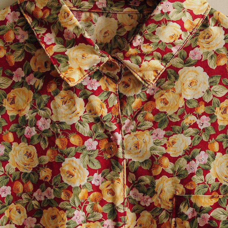 【蛋植物古着】草莓花果棉質印花古著襯衫