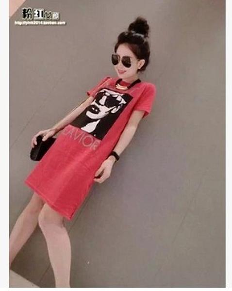 洋裝 連身裙短袖韓版S-4XL歐洲站春夏長T恤裙女寬松字母印花休閑洋裝潮3F126紅粉佳人