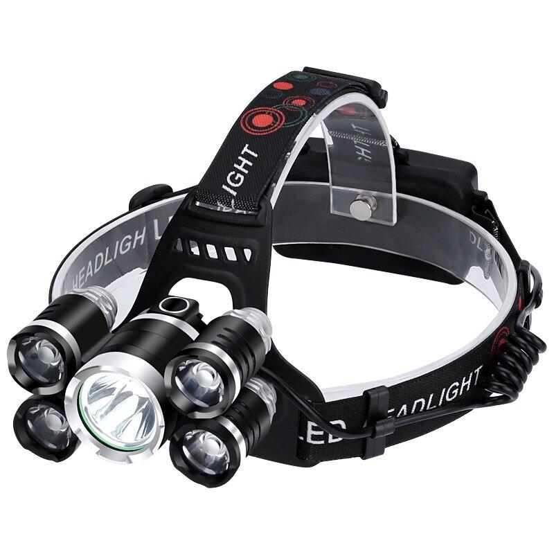 新款5LED強光頭燈 戶外照明大功率30W 充電多功能飛機燈18650充電 全館八八折