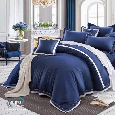 《純精梳美國棉+奈米銀》藍色大門-兩用被床包四件組(含奈米陶瓷)