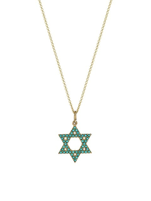 14K Yellow Gold & Turquoise Star Of David Charm Necklace