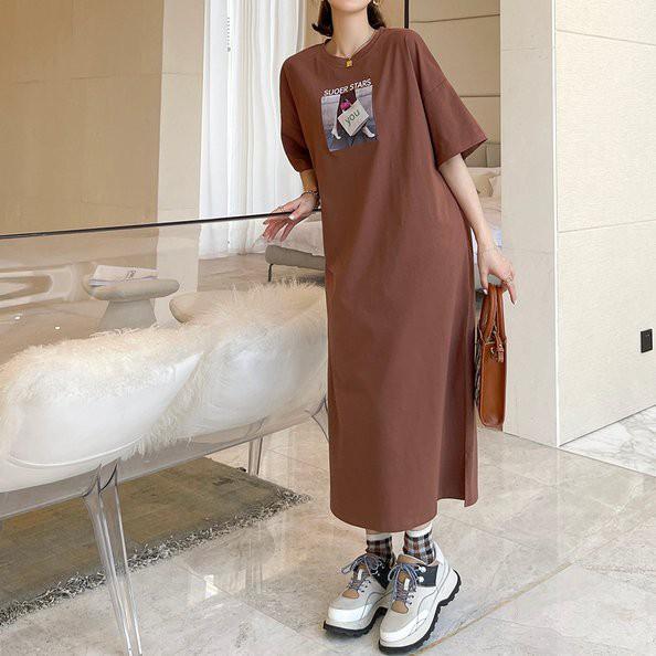 長裙 長版衣 連身裙 洋裝L-3XL長款大碼印花棉針織短袖連衣裙S109.9418胖胖美依