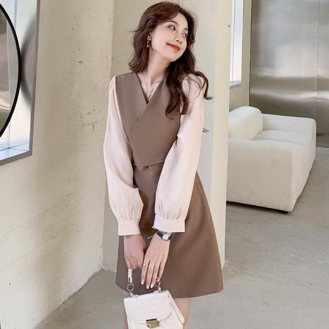 FOFU-法式復古赫本連身裙氣質v領收腰綁帶顯瘦【08SG05257】
