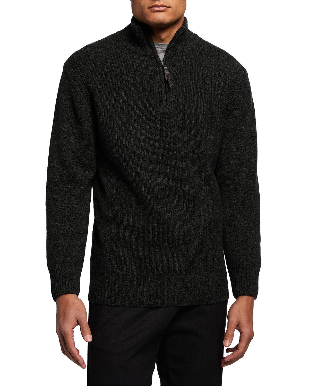 Men's Charlestown Quarter-Zip Lambswool Sweater