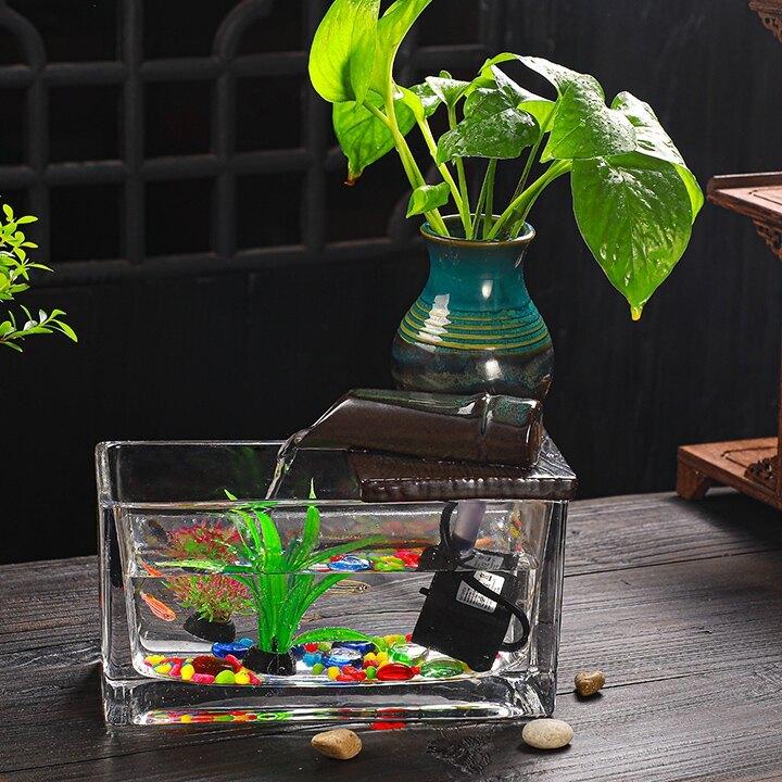 懸壺循環流水擺件配件搭配玻璃小魚缸噴泉加濕器客廳辦公室桌面