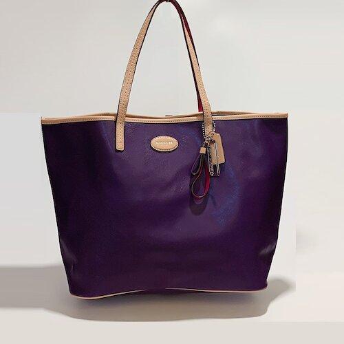 COACH 紫色防刮皮革側肩大包-31326-SV/VI