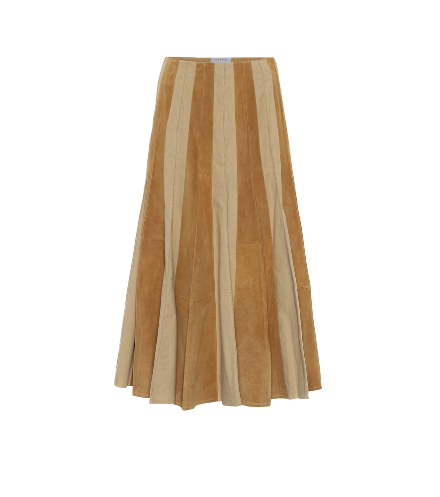 Ernst suede and cotton midi skirt