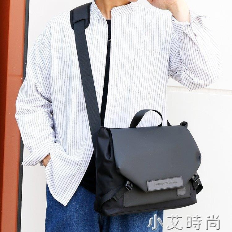 男士防水單肩斜挎包手提包時尚純色簡約商務休閒男包中號多口袋