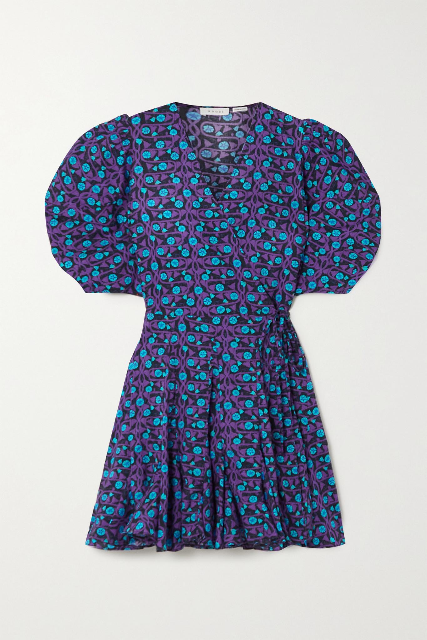 RHODE - Claudine Printed Cotton-voile Mini Wrap Dress - Purple - medium