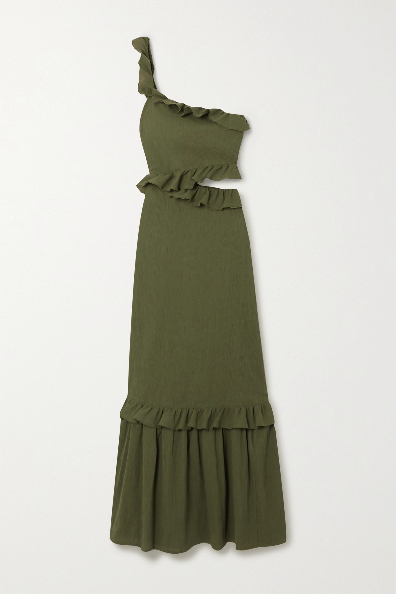 PEONY - + Net Sustain One-shoulder Ruffled Organic Cotton Dress - Green - UK6