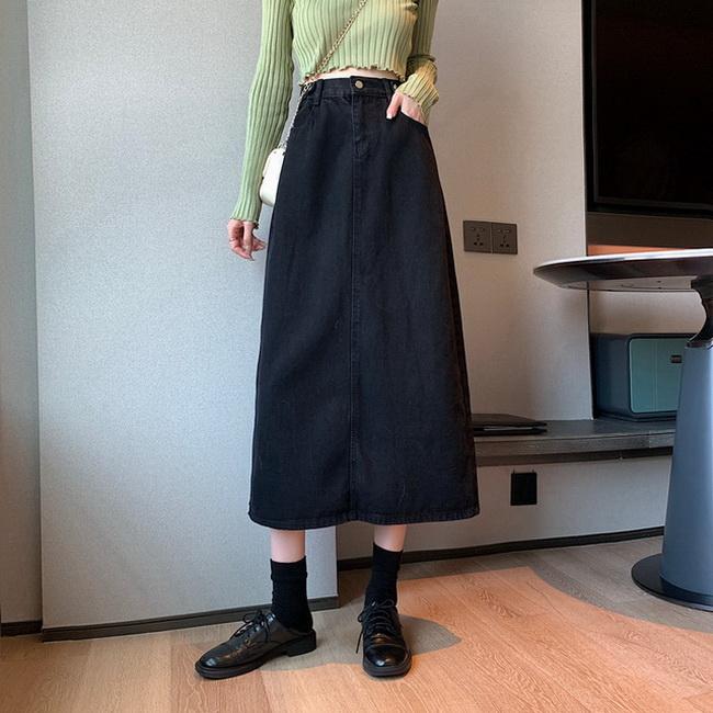 FOFU-牛仔半身裙女中長a字裙高腰裙子顯瘦百搭牛仔裙潮【08SG05301】