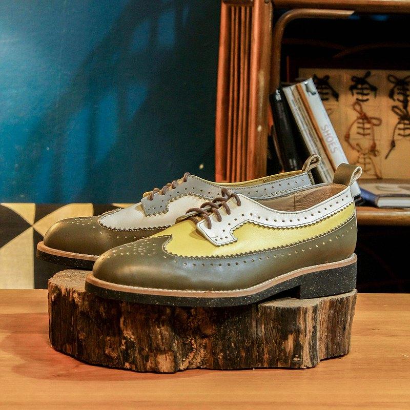 【展示打樣品】純手工訂製 布洛克雕花鞋-BR06 橄欖色 皮鞋 男