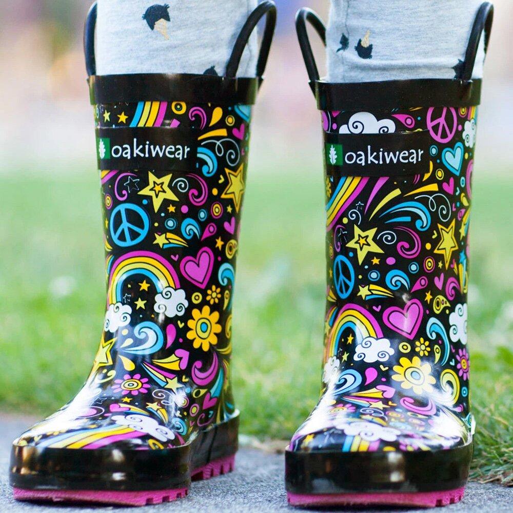 OAKI| 兒童提把雨鞋  愛&和平&彩虹