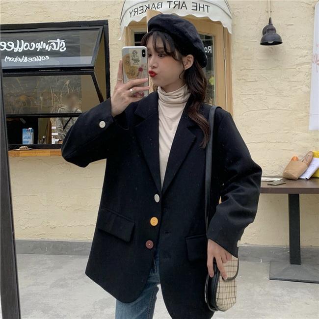 FOFU-網紅小西裝外套女韓版寬鬆秋復古百搭休閒西裝上衣【08SG05447】