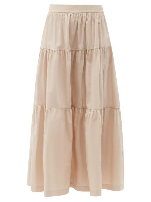 Staud - Sea Tiered Cotton-blend Skirt - Womens - Light Beige