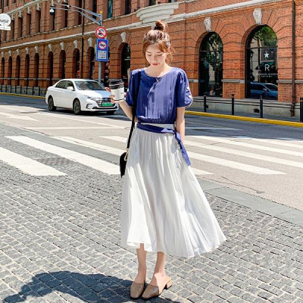 小中大尺碼洋裝~9303法式溫柔風假兩件連身裙女中長網紅氣質顯瘦桔梗長裙H325日韓屋