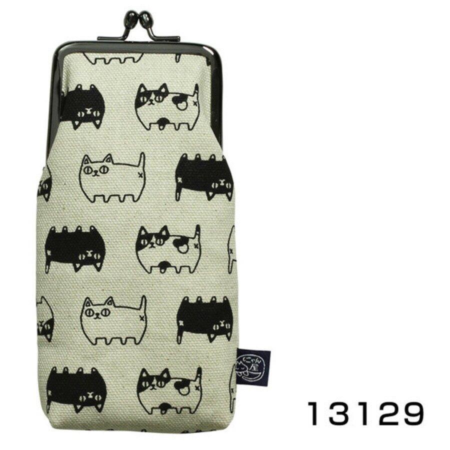 【日本製】貓帆布系列 口金眼鏡包 親子貓咪圖案 芥末黃 - 日本製 貓帆布系列