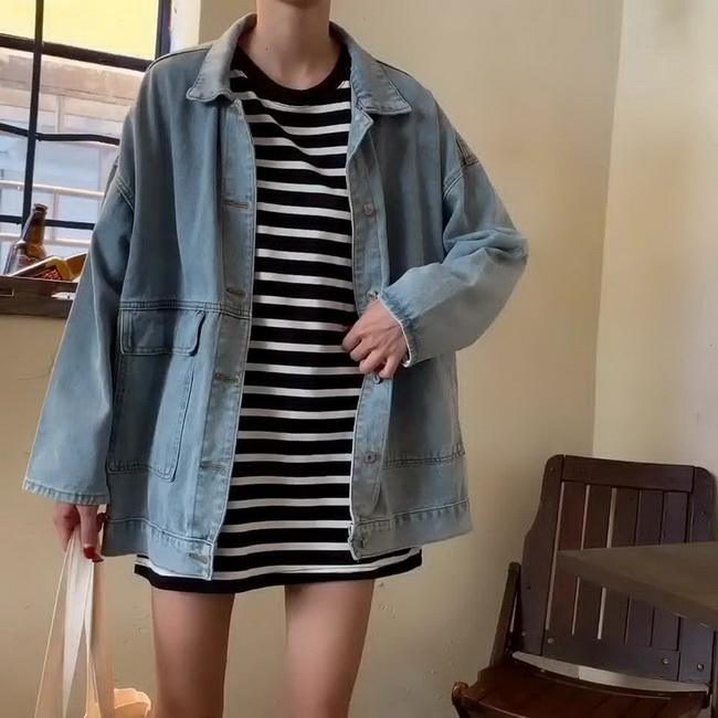 FOFU-牛仔外套女韓版寬鬆款網紅雜誌風潮復古港味上衣服【08SG05340】