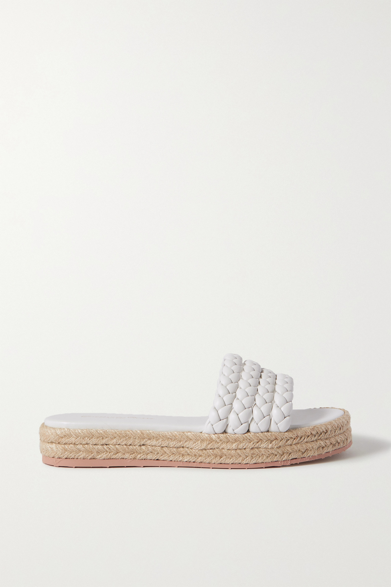 GIANVITO ROSSI - Marbella Braided Leather Espadrille Slides - White - IT41