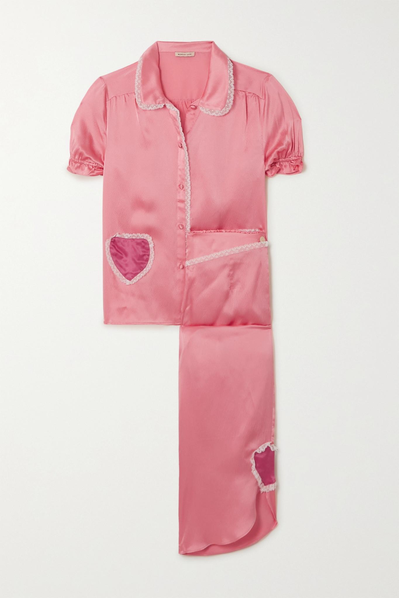 MORGAN LANE - Lovie And Margo Appliquéd Lace-trimmed Hammered Silk-charmeuse Pajama Set - Pink - med