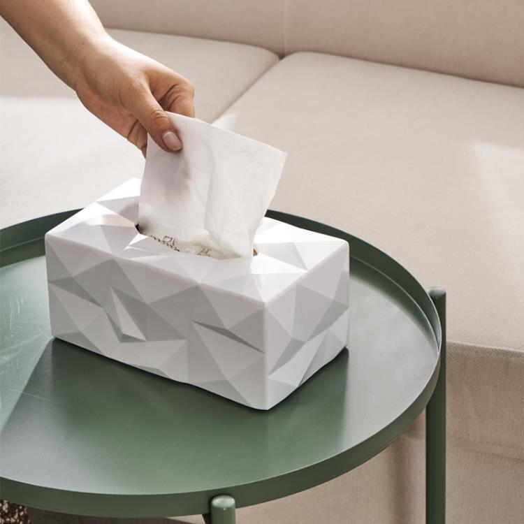 北歐簡約紙巾盒鉆石面設計師餐廳家用抽紙盒創意個性紙巾盒辦公室