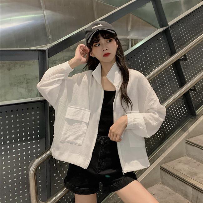 FOFU-網紅防曬衣女長袖寬鬆百搭薄款雪紡罩衫短版外套【08SG05434】