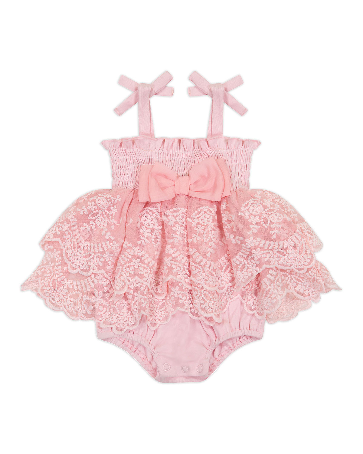 Girl's Tiered Embroidered Lace Smocked Romper, Size 3-9M