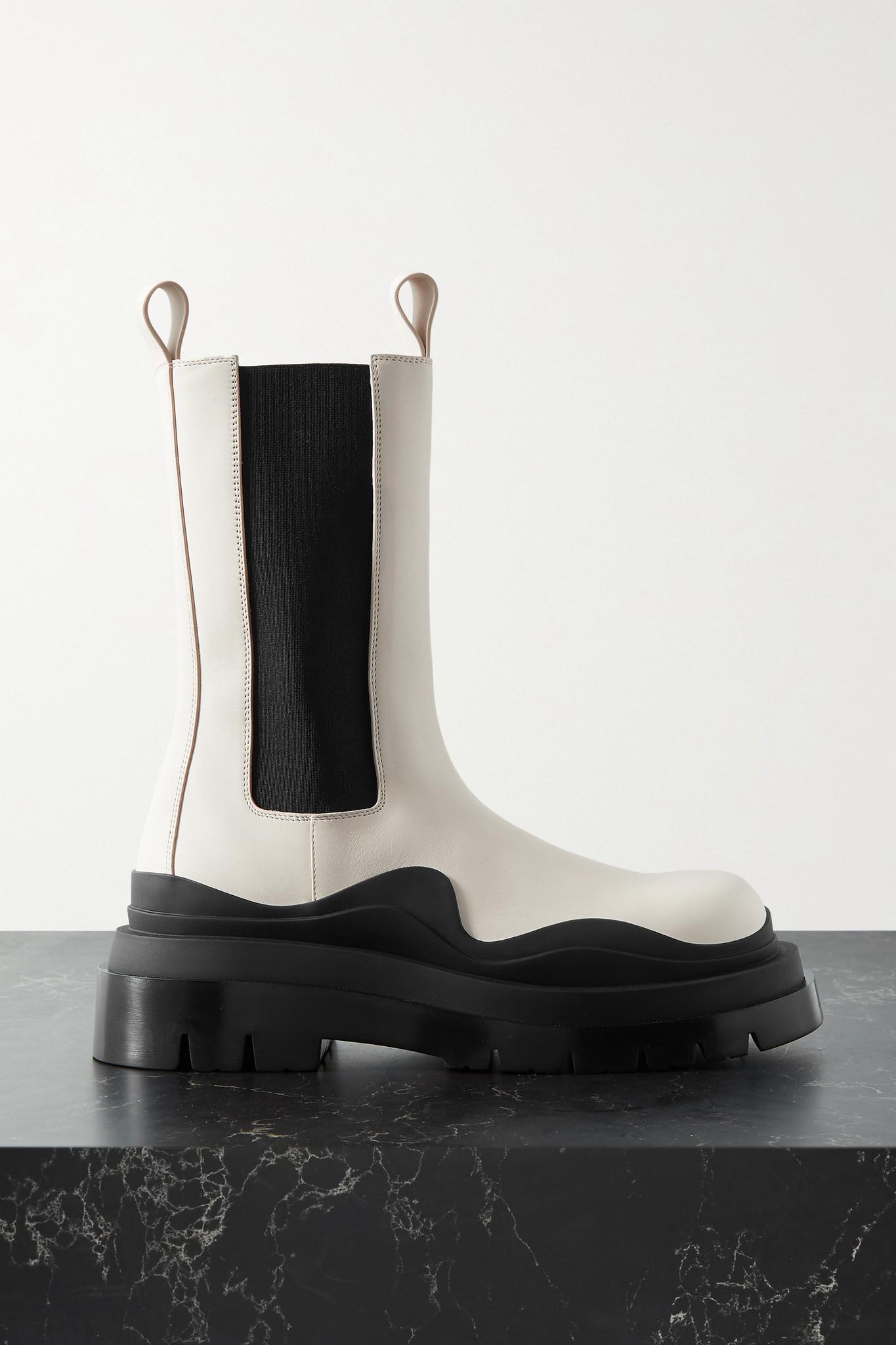 BOTTEGA VENETA - Tire Rubber-trimmed Leather Chelsea Boots - Off-white - IT38.5